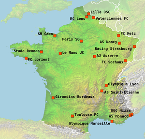 2007–08 Ligue 1 - The locations of the 20 teams participating in Ligue 1 season 2007–08