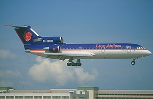Lion Air -  The Yakovlev Yak-42D, the first aircraft of Lion Air, landing in Singapore