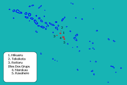 Location of Hikueru in the Tuamotu Archipelago