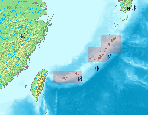 Location of the Ryukyu Islands (shaded red) in the East China Sea.