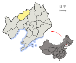 Location o Fuxin Ceety jurisdiction in Liaoning