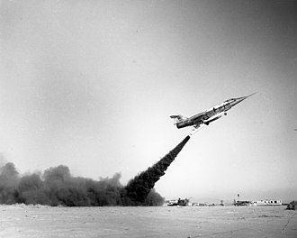 Zero-length launch - A Lockheed F-104G during tests at Edwards Air Force Base
