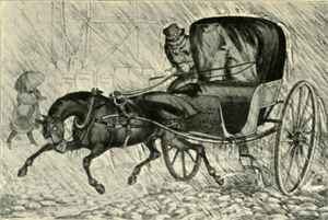 Cabriolet (carriage) - A cab on the slippery London cobblestones in 1823. The curtain in front of the passengers has been drawn because of the pouring rain. The groom is unprotected.
