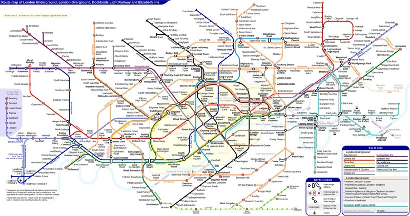 Pdf London Tube Map 2019.File London Underground Overground Dlr Crossrail Map Pdf