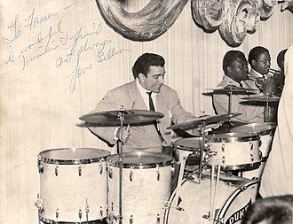 Drum kit - Louis Bellson plays with the Duke Ellington Orchestra at the Palomar Supper Club in Vancouver, B.C., on 19 April 1952.