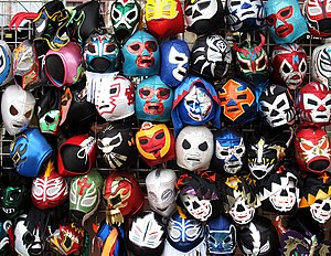 Wrestling mask - A selection of wrestling masks sold at stores.