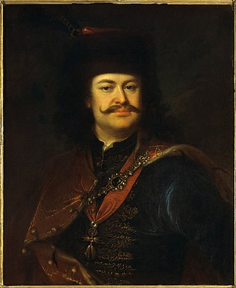 Francis II Rakoczi, leader of the uprising against Habsburg rule in 1703-11 Manyoki, Adam - Portrait of Prince Ferenc Rakoczi II - Google Art Project.jpg