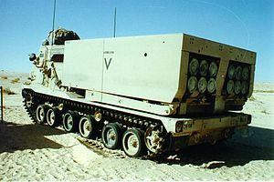 24th Infantry Division (United States) - An M270 MLRS of A Battery, 13th FA Regiment, 24th ID during Desert Shield