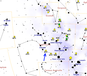 Messier 54 - Map showing location of M54 (RobertoMura)