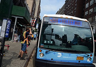 86th Street Crosstown Line - An M86 bus during the debut of SBS service in July 2015.