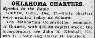Manhattan Construction Company - Manhattan Construction Company Charter - December 17, 1907