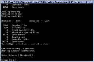 MINIX - MINIX 2.0.4 system startup and login prompt