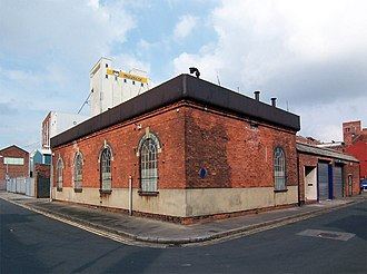 Hydraulic power network - Machell Street hydraulic pumping station in Hull, showing the water settling tank on the roof