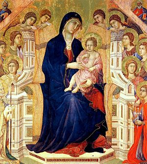 Duccio - Maestà with Twenty Angels and Nineteen Saints, detail