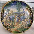 Maiolica di urbino, bottega fontana, apollo e pan, 1550 ca.jpg