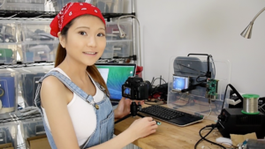 Women in STEM fields - Naomi Wu demonstrating how to configure a Raspberry Pi 2