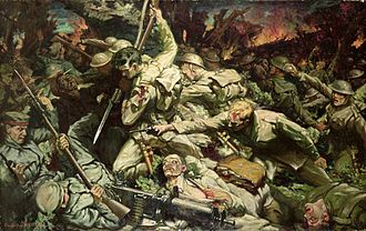38th (Welsh) Infantry Division - A painting by Christopher Williams depicting the division's assault to capture Mametz Wood