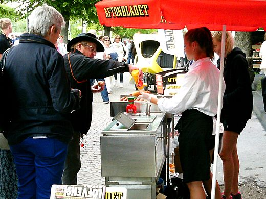 street food a hot dog stand in visby sweden