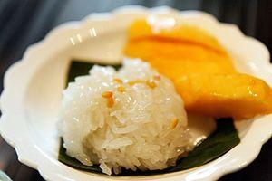 Mango sticky rice - Sliced mango served with Thai sticky rice