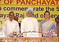 Manmohan Singh, the Union Minister for Rural Development and Panchayati Raj, Shri C.P. Joshi and the Chairperson, UPA (1).jpg