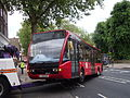 Mansfield Group truck (V8 REC) towing London United bus OV13, 20 May 2014 (2).jpg