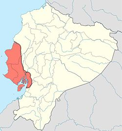 A map of the Manteno civilization (red) within Ecuador (yellow). The eastern boundary was complex (not shown)