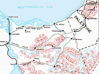 Raid on Bir el Hassana - Map of Sinai Peninsula