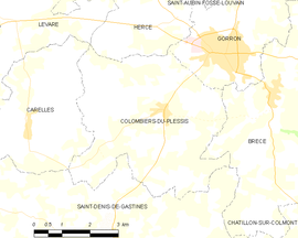 Mapa obce Colombiers-du-Plessis
