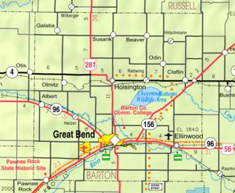 Barton County, Kansas - Image: Map of Barton Co, Ks, USA