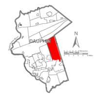 Map of Dauphin County, Pennsylvania highlighting East Hanover Township