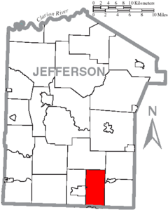Map of Jefferson County, Pennsylvania Highlighting Bell Township.PNG