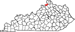 State map highlighting Gallatin County