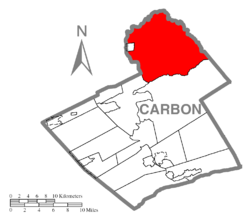 Location of Kidder Township in Carbon County