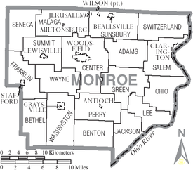 Woodsfield Ohio Map.Monroe County Ohio Wikipedia