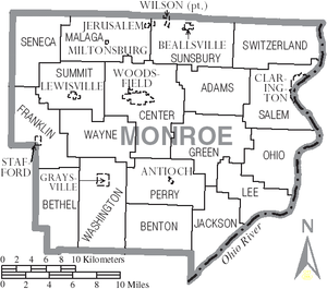 Monroe County, Ohio - Map of Monroe County, Ohio with municipal and township labels