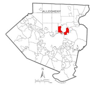 O'Hara Township, Allegheny County, Pennsylvania - Image: Map of O'Hara Township, Allegheny County, Pennsylvania Highlighted