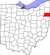 State map highlighting Mahoning County
