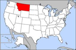 Kort over USA med Montana markeret
