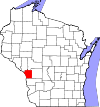State map highlighting La Crosse County