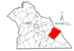 Map of York County, Pennsylvania highlighting Chanceford Township