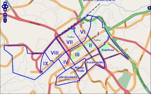 To ease navigation, this maps shows some of the districts in Turku Centre