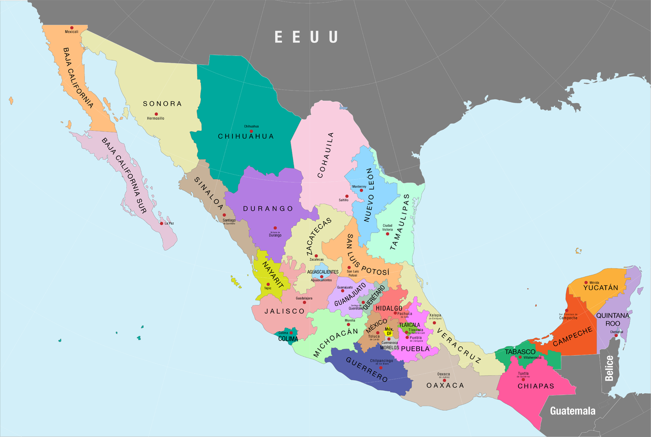 FileMapa poltico de Mxico a color nombres de estados y