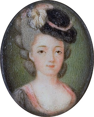 Doll hat - A later copy of an 18th-century miniature showing a doll-hat design worn as decoration for an ornate wig
