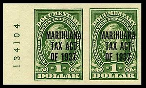 Marihuana Tax Act of 1937 - Overprint marijuana revenue stamps from 1937