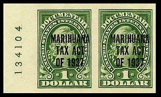 Marihuana Tax Act of 1937 - Overprint marijuana revenue stamps from 1937