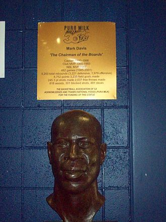 Mark Davis (basketball, born 1960) - Bronze bust of Mark Davis on display at the Titanium Security Arena, home of the Adelaide 36ers.