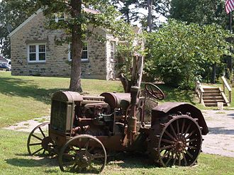 Ava, Missouri - Old tractor displayed by the Ava Ranger Station Historic District