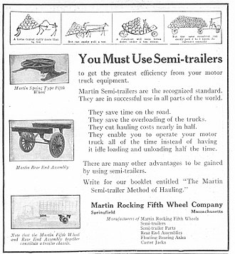 Fifth-wheel coupling - A 1920 advertisement for Martin Rocking Fifth Wheel
