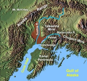 Matanuska Valley Colony - Relief map of the Matanuska-Susitna Valley.
