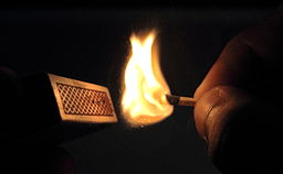 Match stick, lit a match, match box, fire